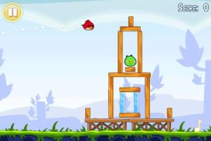 Still from the video game Angry Birds. Image source.